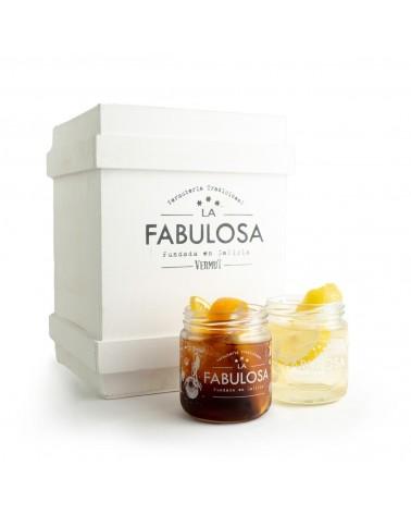 Pack Vermut LA FABULOSA + Caja de Madera + 2 Vasos